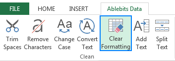 Select the cells from which you want to remove formatting, and click the Clear Formatting button.