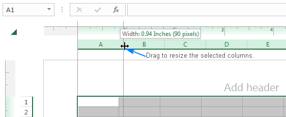 Setting the column width in inches