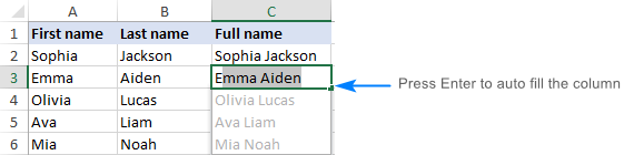 Merging first and last name in Excel with Flash Fill