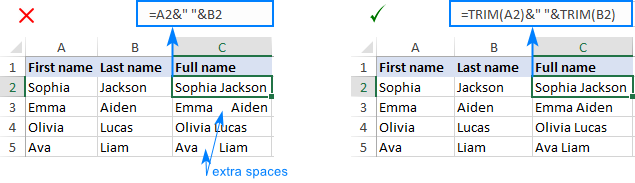 Trim extra spaces and combine names