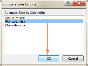 Arrange multiple Excel windows side by side.
