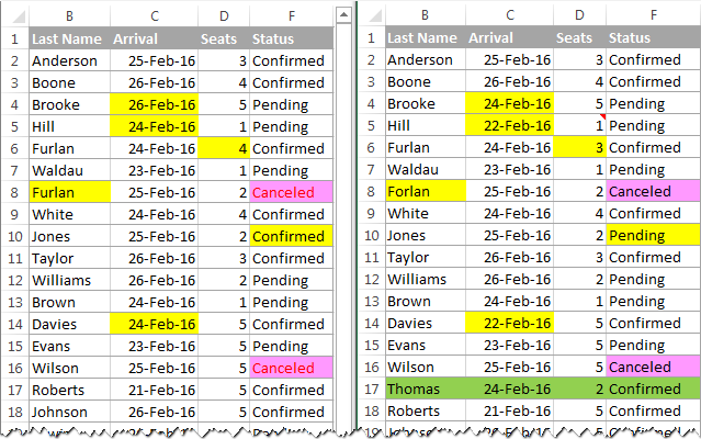 Highlighting differences between sheets