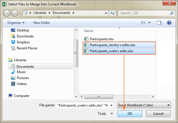 Select a copy of the shared workbook that you want to merge.