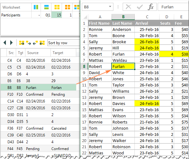 As soon as you click on a difference, you will jump to the corresponding cells on both sheets.