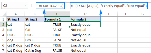 Case-insensitive formula to compare strings in Excel