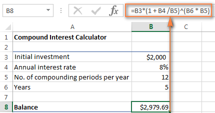 Compound interest formula for Excel