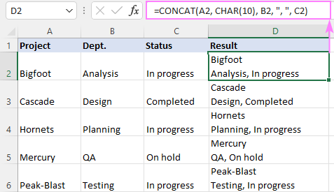 CONCAT formula with different separators