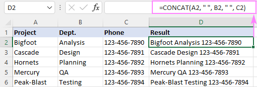 Concatenating cells with spaces