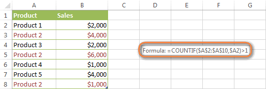 Excel formula to highlight duplicates including 1st occurrences