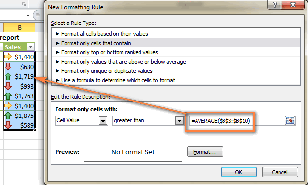 Configure the rule using the AVERAGE function.