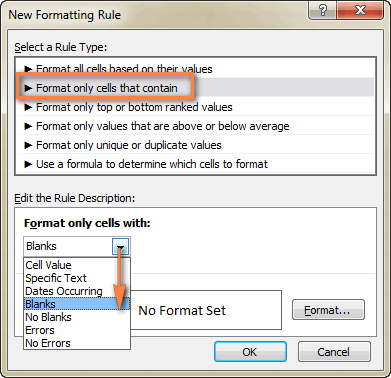 Create a conditional formatting rule for blank cells.