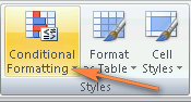 Conditional formatting in Excel 2007