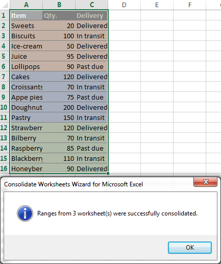 Three Excel worksheets merged into one