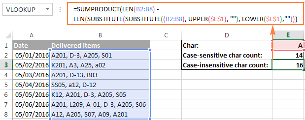 A case-insensitive formula to count specific characters in a range