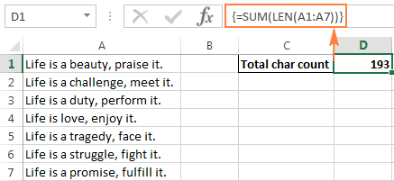 Another formula to count all characters in a range