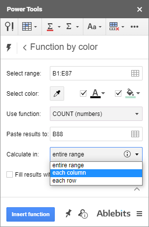 Calculate values in rows, columns, or the entire range.