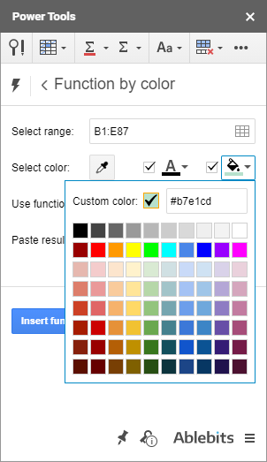 Select fill color from the color palette.