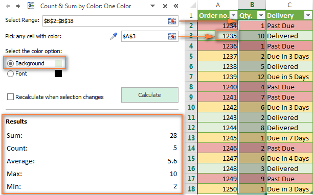 Count and sum cells in Excel by the selected color.