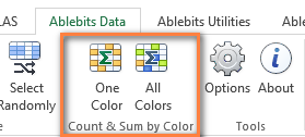 The Count & Sum by Color add-in for Excel 2016 - 2003