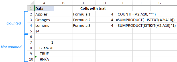 Excel formula to count cells with text