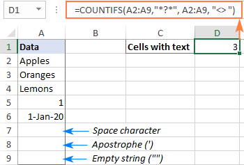 Count cells with text excluding spaces and empty strings