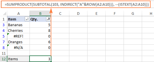 Formula to count visible cells with text