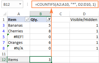 Excel formula to count filtered cells with text