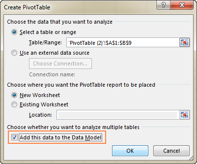 Select the 'Add this data to the Data Model' checkbox.