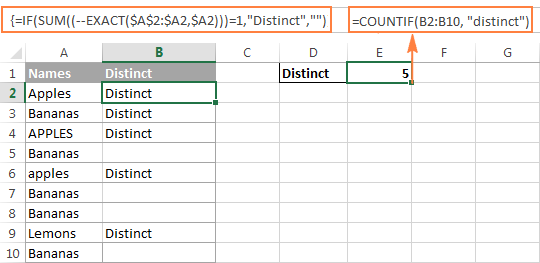 Counting case-sensitive distinct values in Excel