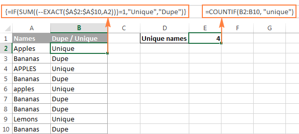 Counting case-sensitive unique values in Excel