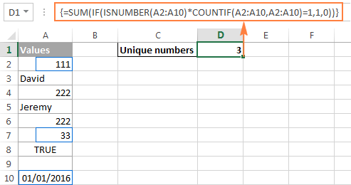 Counting unique numeric values in Excel