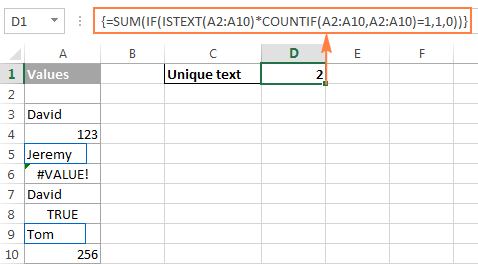 Counting unique text values in Excel