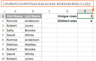 Counting unique and distinct rows in Excel