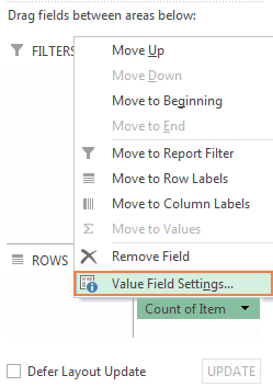 Move the field whose distinct count you want to calculate to the Values area, and select Field Value Settings…
