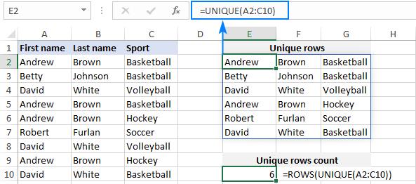 Excel formula to count unique rows