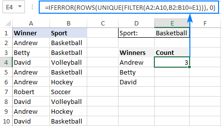 Counting unique values with criteria