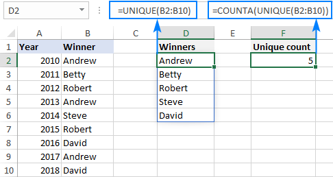 Excel formula to count unique values in a column