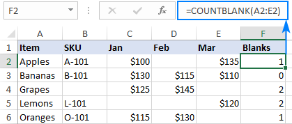 Formula to count bank cells in Excel