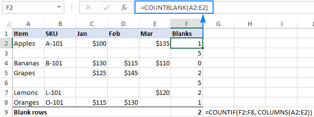 Counting blank rows in Excel