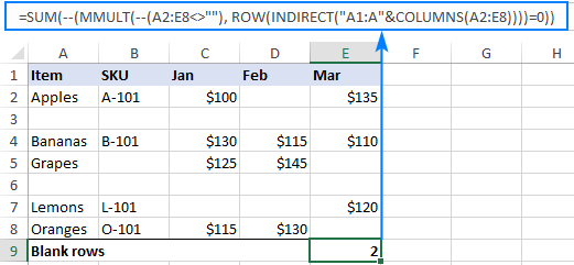 Another formula to count blank rows in Excel