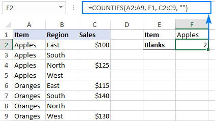 Counting blank cells with condition in Excel