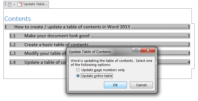 Open the Update Table of Contents dialog box to choose what to update.