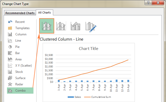 In Excel 2013 or Excel 2016, select the Combo chart type.