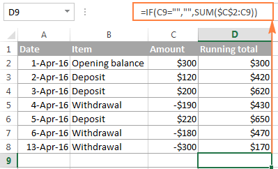 An improved Excel cumulative sum formula