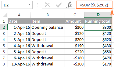 Calculating running total for the bank balance