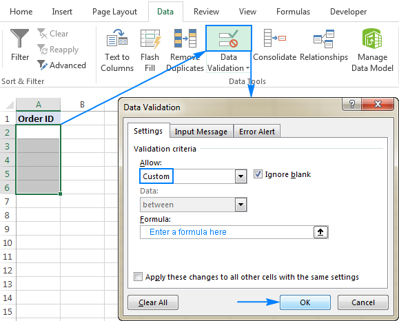 Creating a custom formula-based validation rule in Excel