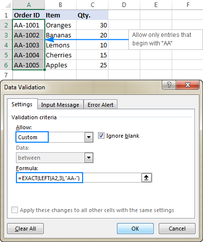 Case-sensitive validation formula to allow text beginning with specific characters