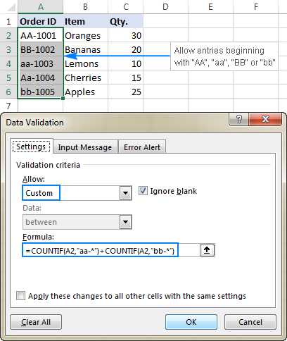 Excel data validation formula with the OR logic
