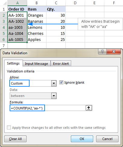 Data validation to allow text beginning with specific characters