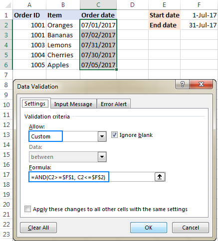 Data validation to allow dates between two dates